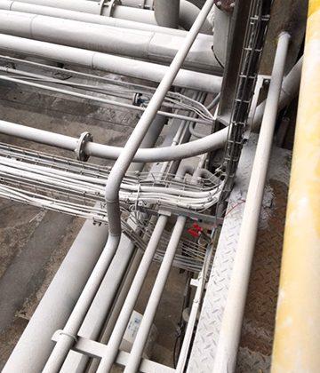 Inspecção do sistema de redes de terra de uma unidade química